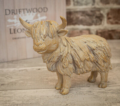 £18.95 • Buy Driftwood Highland Cow Wooden Carved Effect Figurine Ornament Gift Boxed