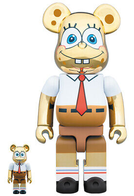 $439.12 • Buy Bearbrick Spongebob Gold Chrome 100 400 Bearbrick