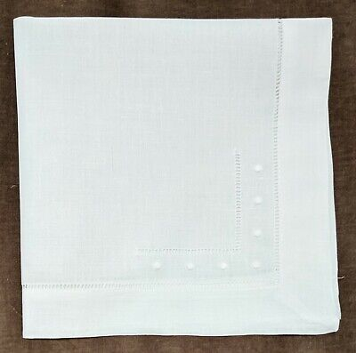 £15.99 • Buy 18   Hemstitch With Embroidered Dots Dinner Napkins - 100% Linen -White Set Of 6