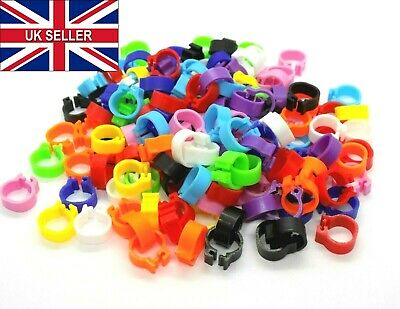 £2.99 • Buy 8mm Reusable Birds Foot Rings Poultry Chicken Pigeons Quail Hens Leg Click Clips
