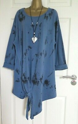 WOMEN'S MADE IN ITALY DENIM SLIPKNOT LAGENLOOK  LONG TUNIC TOP Approx Size 18 20 • 10.50£