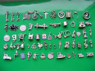H) Vintage Sterling Silver Charms Charm Crab 21 Fairy Car Well Duck Boot Pixie  • 8.99£