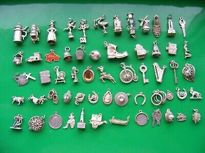 I) VINTAGE STERLING SILVER CHARMS CHARM EROS RINGS KEY 21 SHOE BOOT BIKE BIBLE • 8.99£