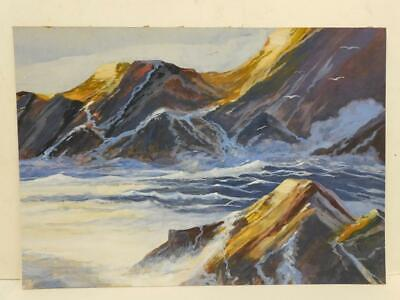 Really Old PAINTING On Board SEA CLIFFS SEASCAPE • 30£