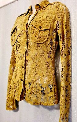 NEXT SEXY Mustard Fitted LACE BLOUSE SIZE Long Or 3/4 Sleeved Top Uk 8-10 • 0.99£