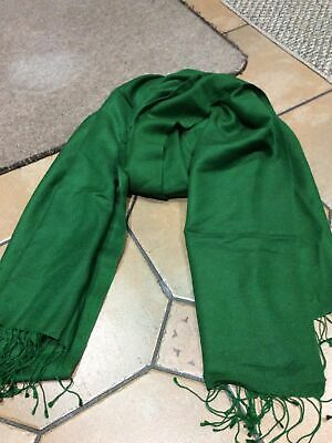 Cashmere Silk Plain Knitted Scarf Wrap Blanket Throw Material Soft Forest Green • 12£