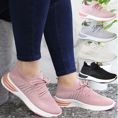 £14.95 • Buy Ladies Running Sock Lace Up Trainers Women Mesh Jogging Sneaker Sport Shoes Size