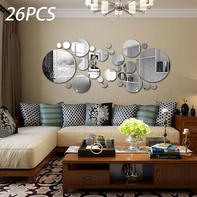 26Pcs Home Circle Mirror Tiles 3D Wall Stickers Self Adhesive Bedroom Art Decal • 4.99£