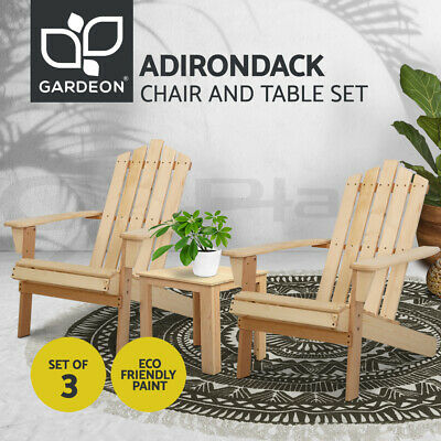 AU189.90 • Buy Gardeon Outdoor Chairs Lounge Setting Beach Chair Table Wooden Indoor Patio 3pc