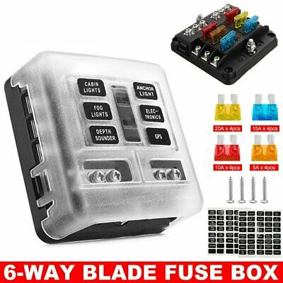 AU19.99 • Buy 6-Way Blade Fuse Block Box Holder Overload Protection Auto Car Boat Marine 12V
