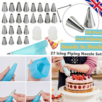 NEW 27 Pieces Icing Piping Nozzle Tool Set Box Cake Cupcake Decorating TOP UK • 6.39£