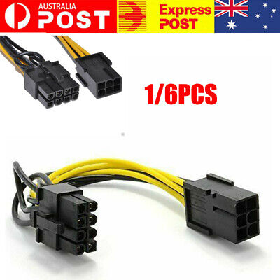 AU8.31 • Buy PCIe Express 6 Pin To  8 Pin (6 + 2) PCI Male Power Splitter Adaptor Cable