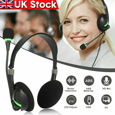 £8.99 • Buy USB Computer Headset Wired Over Ear Headphones For Call Center PC Laptop Skype