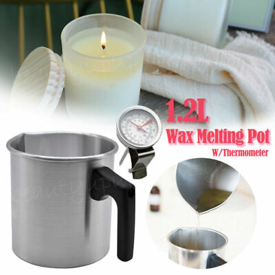 1.2L Wax Melting Pot Pouring Pitcher Jug Aluminium Candle Soap Make Thermometer • 10.99£