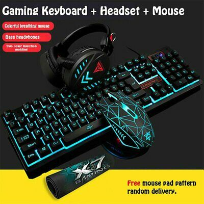 AU46.93 • Buy Gaming Keyboard Mechanical Keyboard And Wired Mouse/Pad Headset Three-Piece Set