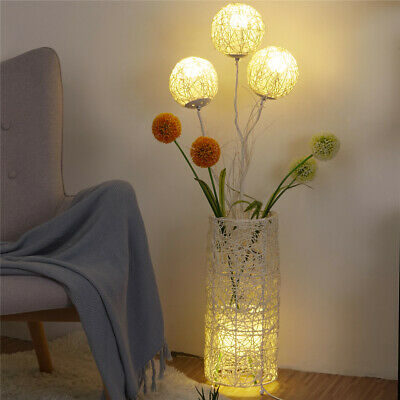Modern Globe LED Floor Standing Lamps Rattan Shrouded Light Ball Tree Handmade • 73.97£
