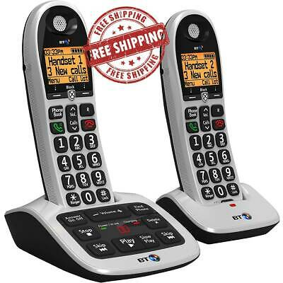 Advanced Cordless Twin Handset  Phone Answer Machine Landline House Remote UK • 70.99£