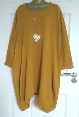 WOMENS MADE IN ITALY MUSTARD QUIRKY LAGENLOOK DRESS Approx Size 18 20  • 3.15£