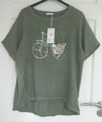 WOMENS MADE IN ITALY KHAKI BICYCLE LINEN SEQUIN LAGENLOOK TOP Approx Size 16 18 • 7£