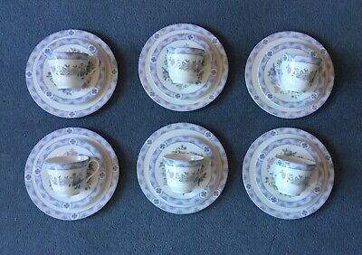 Royal Doulton Bone China Coniston Pattern 6 Trios Tea Cups Saucers Side Plates • 48£