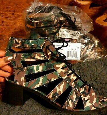 New Look Heels Sandals Size 8 New With Tags Lace Up Green Camo • 12£