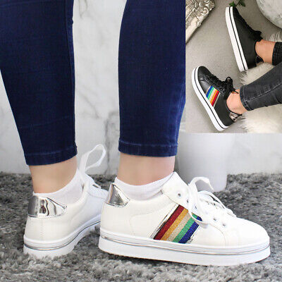 £14.95 • Buy Ladies Running Lace Up Trainers Women Rainbow Glitter Jogging Sneaker Shoes Size