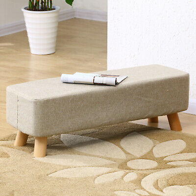 Linen Fabric Padded Stool Bench Footstool Pouffe Living Room Bedroom Footrest • 32.99£