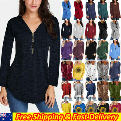 AU15.10 • Buy Plus Size Womens Long Sleeve Baggy T-Shirts Casual Tops Basic Tee Shirts Blouse