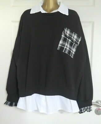WOMENS MADE IN ITALY BLACK FIXED LAYERED POCKET LAGENLOOK TOP Approx Size 18 • 2.95£