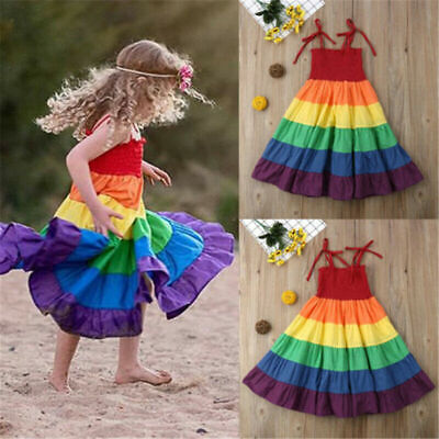 Summer Kids Birthday Party Dress Tutu Dress Baby Girls Rainbow Dresses Sundress • 8.99£