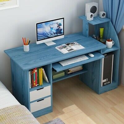 113CM Small Computer Desk PC Table With 2 Cabinet Laptop Home Office Workstation • 74.99£