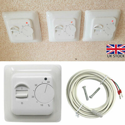 £10.58 • Buy Electric UnderFloor Heating Thermostat Temperature Control Switch + Sensor Cable