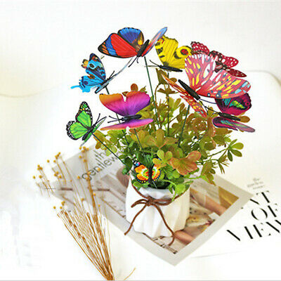 50pcs Colorful Garden Butterflies Stakes Patio Home Ornaments On Sticks Lawn • 6.88£