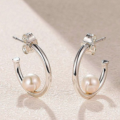 Authentic Pandora Offset Freshwater White Pearl Silver Hoop Earrings #297528P • 93.91£