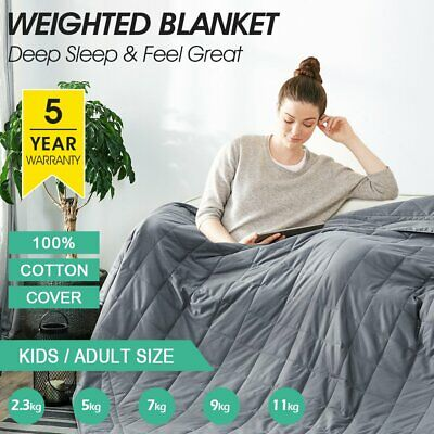 AU62.99 • Buy Weighted Blanket 5/7/9/11KG Heavy Gravity 100% Cotton Cover Kid Adult Deep Relax