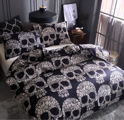 New 3D Skull Duvet Cover Pillow Cases Gothic Bedding Single Double King Size UK • 24£
