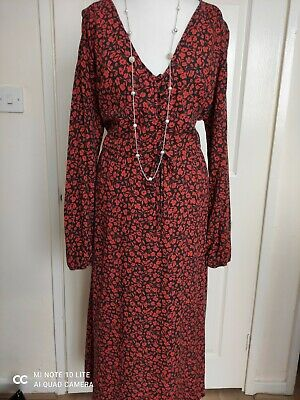 🎀new Look Midi Dress Size 18 Fit&flare Red Floral Pattern Long Sleeve • 9£