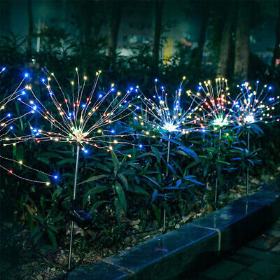 2PC Solar Powered Firework Lamp Stake Fairy Outdoor Light Garden Path Decor UK • 12.99£