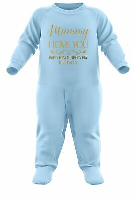 Baby Gold Mummy I Love You Custom Romper Suit Personalised Mothers Day Gifts • 12.95£