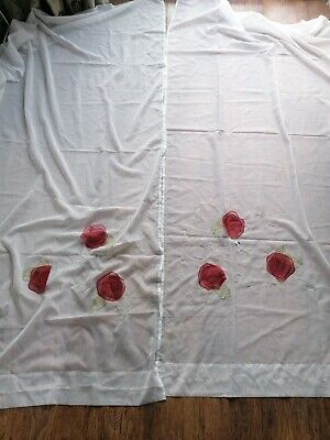 IKEA Minnen ROS Rose Feature 12538 Full Length White Voile/ NET Curtains Set • 10£