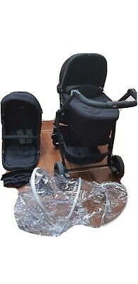 Black Graco Travel System Pushchair Raincover Carry Cot Excellent Condition  • 50£
