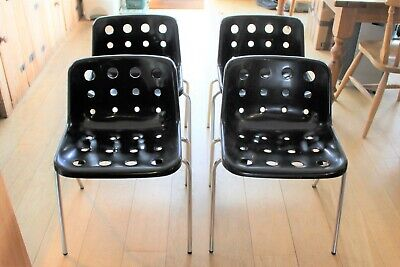£800 • Buy Good Set Of 4/8 Vintage Hille 70/80s ( Robin Day Designed ) Polo Chairs In Black