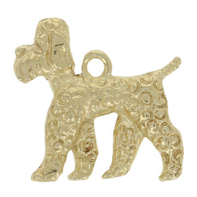 £133.35 • Buy Airedale Terrier Charm - 14k Yellow Gold Textured Canine Pet Dog