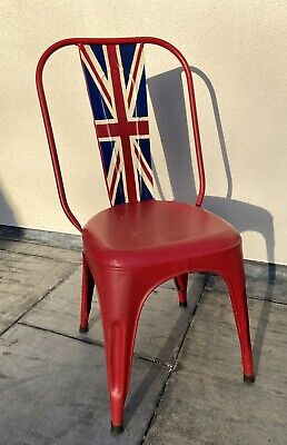 £50 • Buy Andrew Martin Industrial / Rustic Union Jack Red / Blue Metal Chair RRP: £149.99