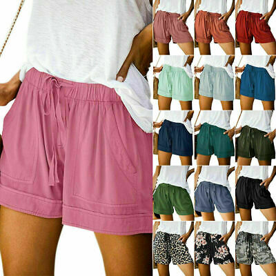 Plus Size Women's Elastic Waist Drawstring Hot Pants Ladies Summer Casual Shorts • 6.99£