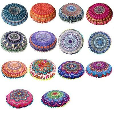 Indian Mandala Floor Pillow Case Round Bohemian Boho Throw Cushion Cover Pouf • 6.99£