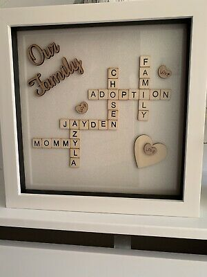 Scrabble Art Picture Frame Personalised - Our Family 20 X 20 Cm • 13.50£