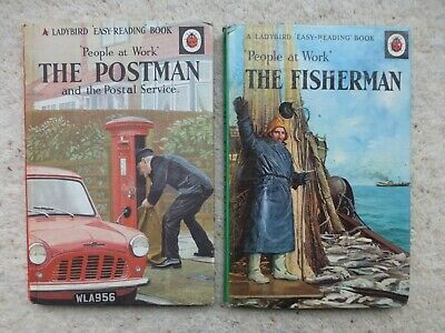 ***** 2 X LADYBIRD BOOKS Series 606B PEOPLE AT WORK Postman Fisherman  • 4£