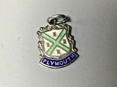 Vintage Sterling Silver Charm PLYMOUTH Travel Enamel Shield 1/2  X 1/2  • 5£