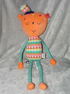Mamas And Papas Cat Soft Toy Orange Green Chime Rattle Comforter Doudou • 12.45£